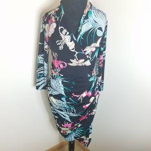 Jennifer Lopez Floral Flower Ruched Dress Medium